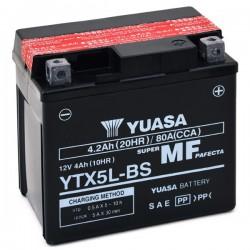 Batterie moto Yuasa 12V 4Ah sans entretien YTX5L-BS / GTX5L-BS