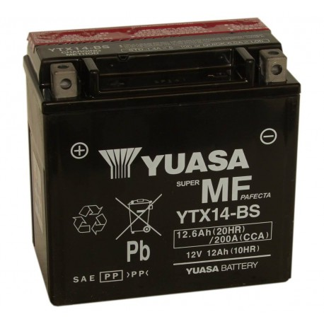 Batterie moto Yuasa 12V 12Ah sans entretien YTX14-BS / GTX14-BS
