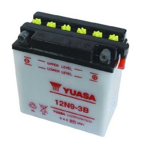 Batterie moto Yuasa 12V / 9Ah avec entretien 12N9-3B