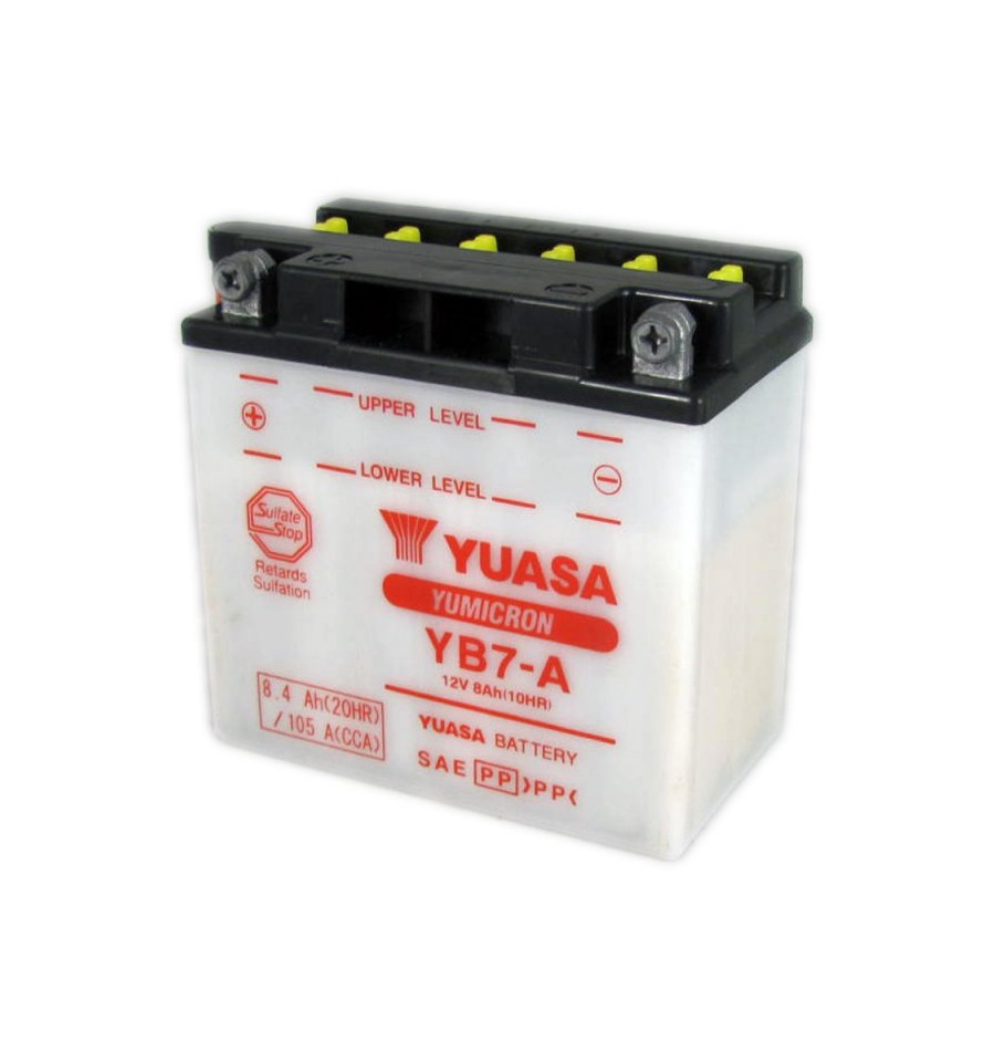batterie moto yuasa yumicron 12v 8ah avec entretien yb7 a batteries moto. Black Bedroom Furniture Sets. Home Design Ideas