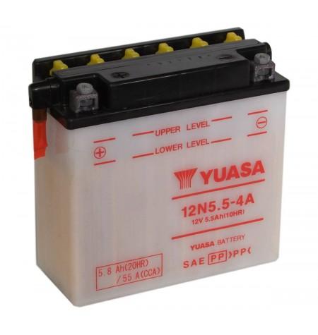 Batterie moto YUASA 12V / 5,5Ah avec entretien 12N5,5-4A