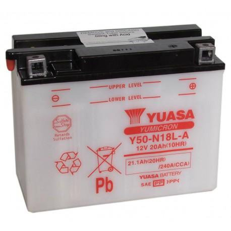 Batterie moto Yuasa Yumicron 12V/20Ah avec entretien Y50-N18L-A